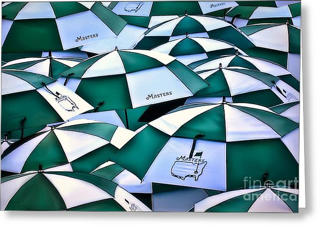 Umbrellas At The Masters Greeting Card by Walt Foegelle
