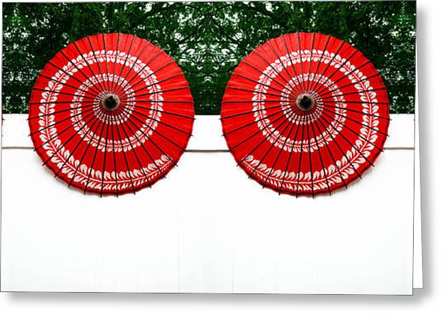 Umbrellas On A Fence Greeting Card