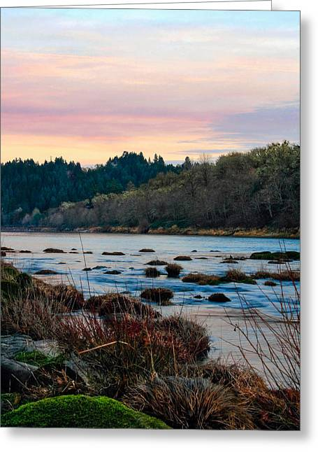 Umpqua Sunset Greeting Card by Pamela Winders
