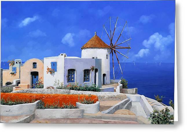 Greece Greeting Cards - un mulino in Grecia Greeting Card by Guido Borelli