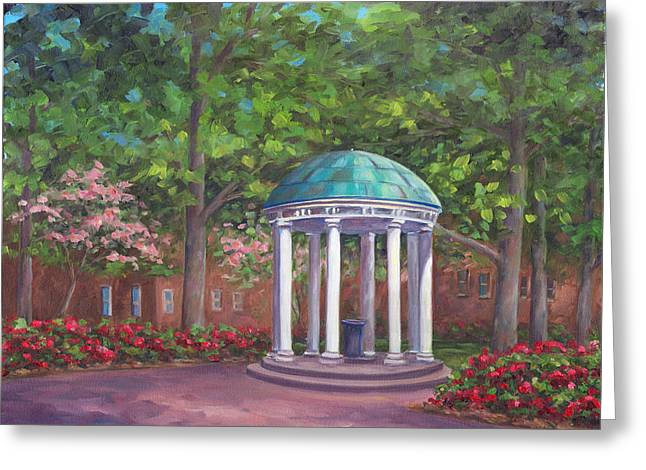 Unc Old Well In Spring Bloom Greeting Card