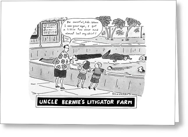 Uncle Bernie's Litigator Farm Be Careful Greeting Card
