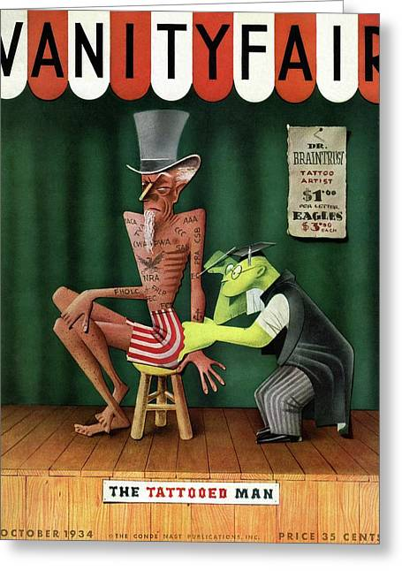 Uncle Sam Being Tattooed Greeting Card by Paolo Garretto