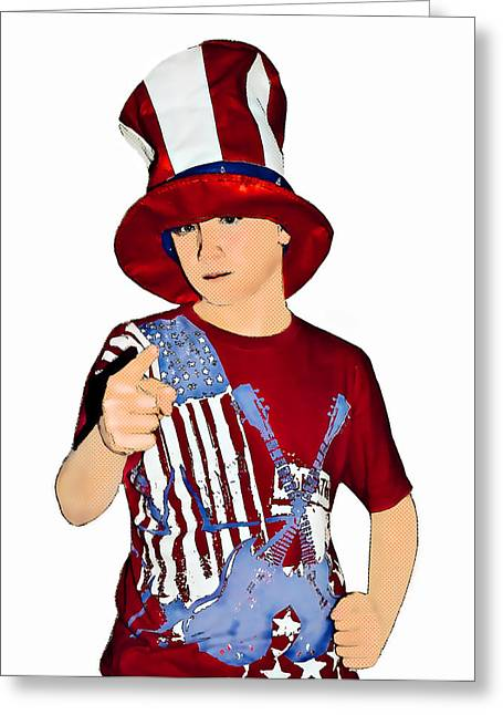 Uncle Sam Greeting Card by Susan Leggett