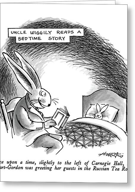 Uncle Wiggly Reads A Bedtime Story Once Greeting Card by Henry Martin