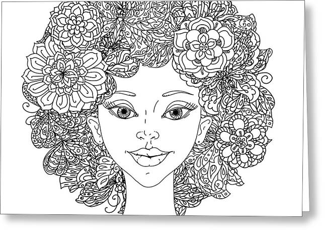 Uncolored Girlish Face For Adult Greeting Card by Mashabr