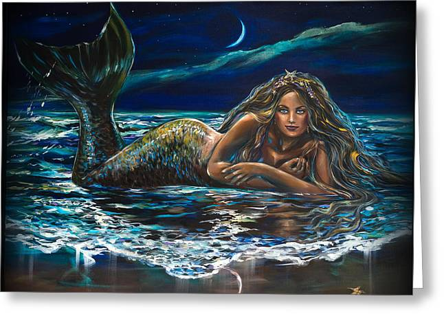 Under A Crescent Moon Mermaid Pillow Greeting Card