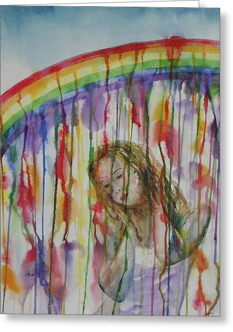 Greeting Card featuring the painting Under A Crying Rainbow by Anna Ruzsan