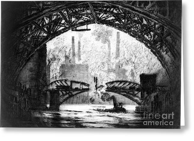 Under Chicago Bridges 1910 Bw Greeting Card by Padre Art