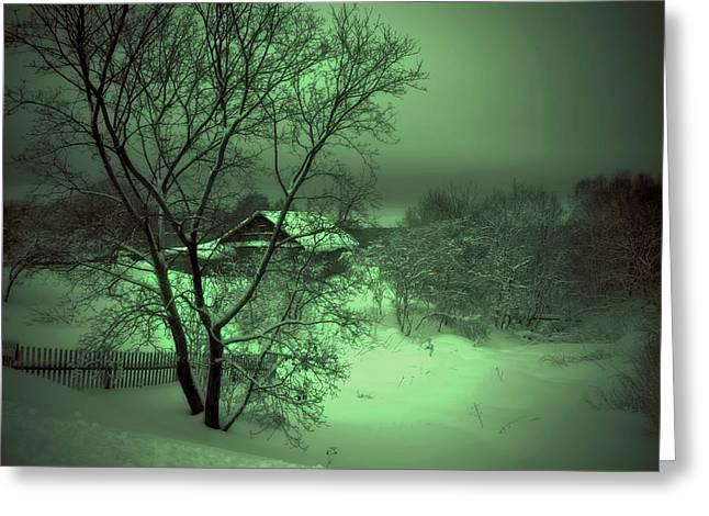 Under Green Moon Greeting Card by Jenny Rainbow