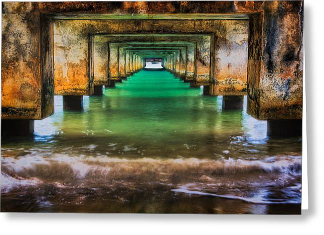 Under Hanalei Pier Greeting Card