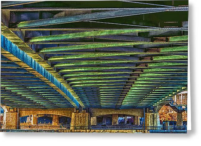 Under Hennepin Avenue Bridge Greeting Card by Bill Tiepelman