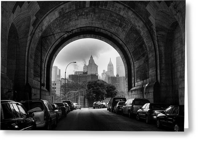 Greeting Card featuring the photograph New York City - Manhattan Bridge - Under by Dave Beckerman