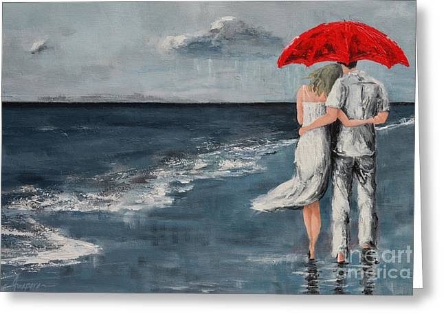 Under Our Umbrella - Modern Impressionistic Art - Romantic Scene Greeting Card