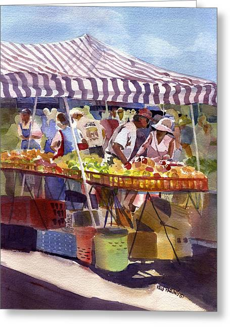 Under The Awning Greeting Card by Kris Parins