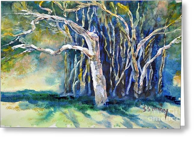Greeting Card featuring the painting Under The Banyan Tree by Sally Simon