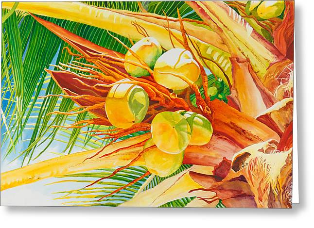 Under The Coconut Palm Greeting Card by Janis Grau