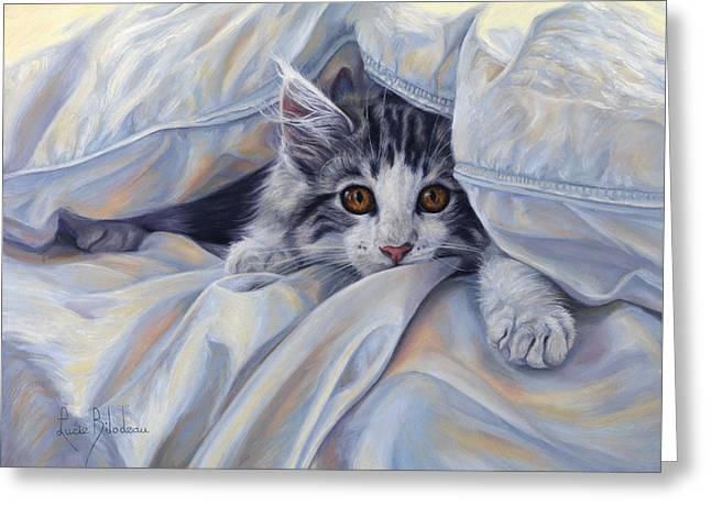Under The Comforter Greeting Card by Lucie Bilodeau