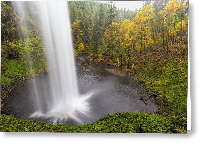 Under The Falls With Autumn Colors In Oregon Greeting Card by David Gn