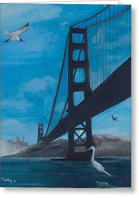 Under The Golden Gate Bridge Greeting Card by Catherine Swerediuk