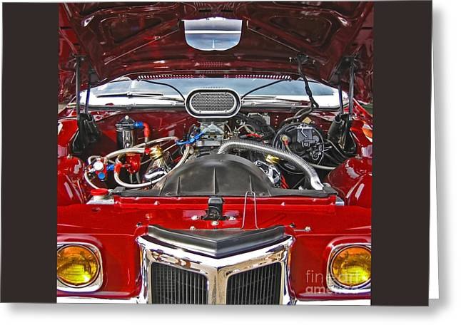 Under The Hood Greeting Card by Ann Horn