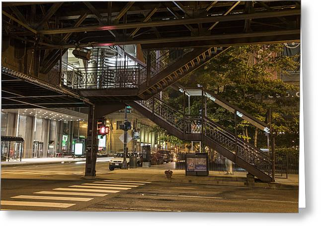 Under The L In Chicago In Color  Greeting Card