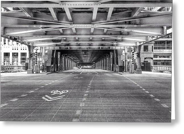 Chicago Wells Street Bridge Photo Greeting Card