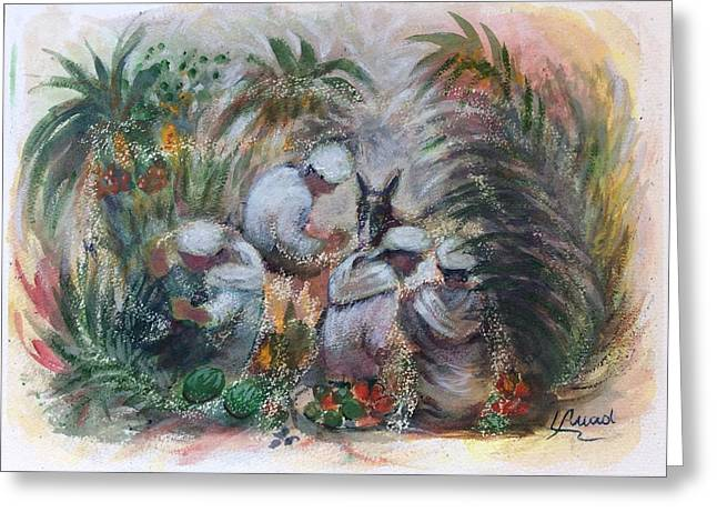 Greeting Card featuring the painting Under The Palm Trees At The Oasis by Laila Awad Jamaleldin