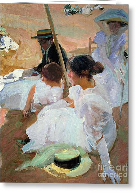 Under The Parasol Greeting Card by Joaquin Sorolla y Bastida