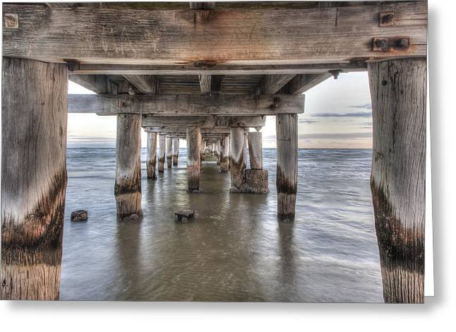 Under The Pier Greeting Card by Shari Mattox