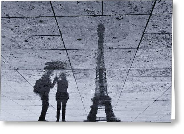 Under The Rain In Paris Greeting Card