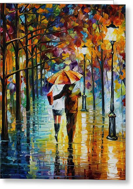 Under The Red Umbrella - Palette Knife Oil Painting On Canvas By Leonid Afremov Greeting Card
