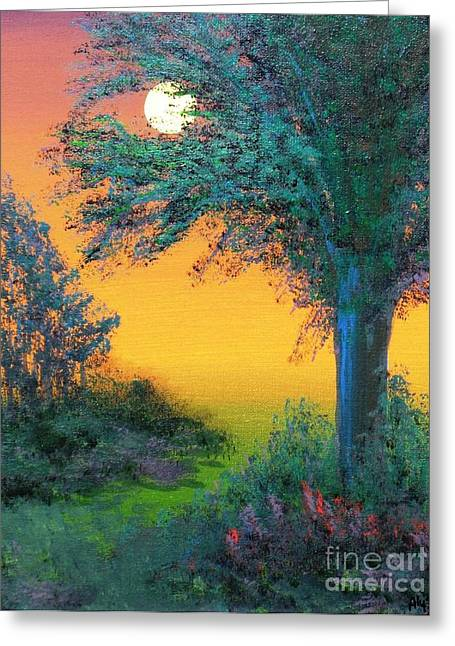 Under The Solstice Moon Greeting Card by Alys Caviness-Gober