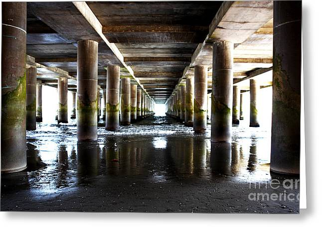 Under The Steel Pier Greeting Card by John Rizzuto