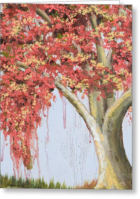 Under The Tree With Gold Leaf By Vic Mastis Greeting Card by Vic  Mastis