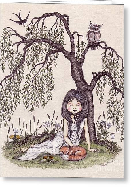 Under The Willow Tree Greeting Card by Snezana Kragulj