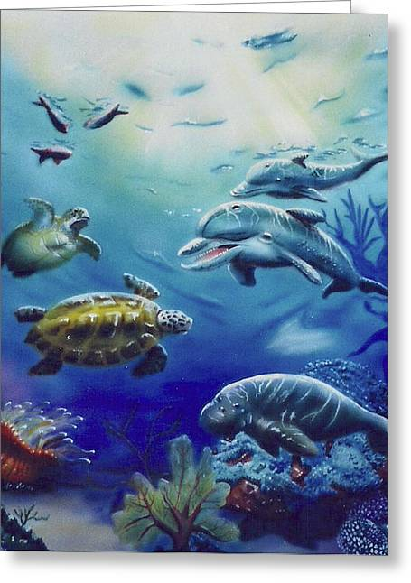 Greeting Card featuring the painting Under Water Antics by Thomas J Herring