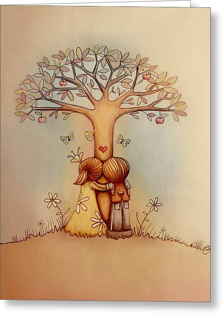 Underneath The Apple Tree Greeting Card by Karin Taylor