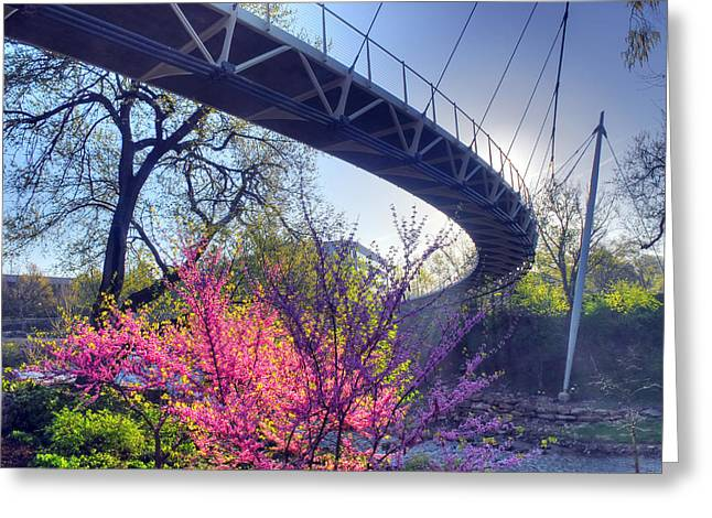 Underneath The Liberty Bridge In Downtown Greenville Sc Greeting Card