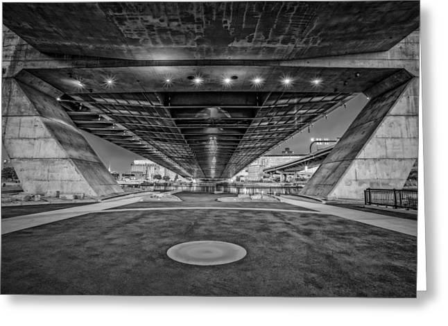 Underneath The Zakim Bridge Bw Greeting Card by Susan Candelario