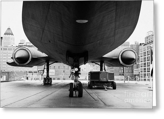 underside of Lockheed A12 Blackbird on display on the flight deck at the Intrepid Sea Air Space Mus Greeting Card