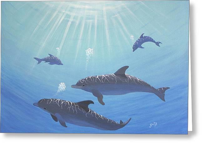 Underwater Dolphins Original Acrylic Painting Greeting Card by Georgeta  Blanaru
