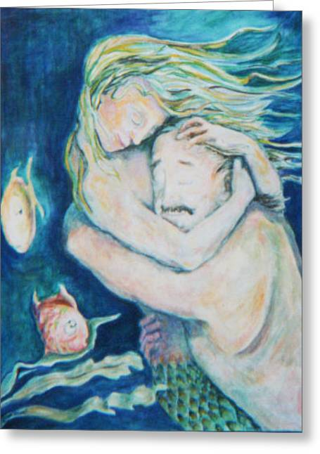 Underwater Embrace Greeting Card by Ellen Howell
