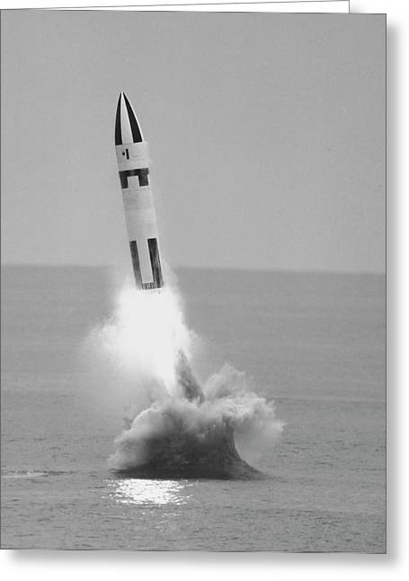 Underwater Firing Of The Polaris A3 Greeting Card by Stocktrek Images