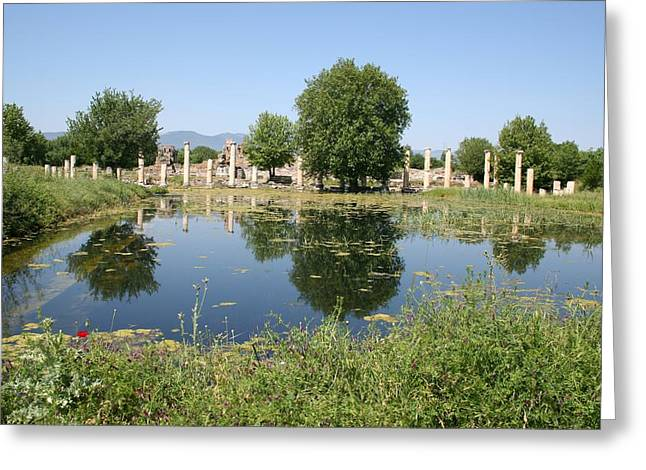 Underwater Remains Of The Portico Aphrodisias Greeting Card by Tracey Harrington-Simpson