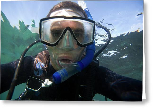 Underwater Self Portrait Of A Man Scuba Greeting Card