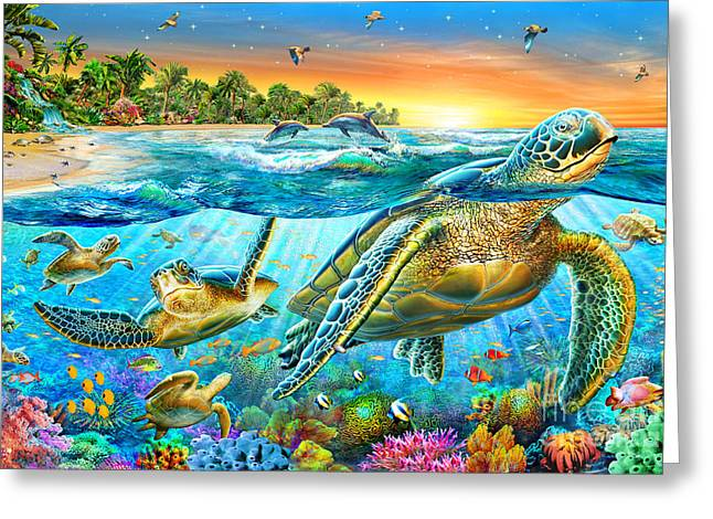 Underwater Turtles Greeting Card by Adrian Chesterman