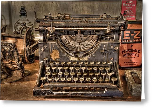 Underwood Typewriter Number 5 Greeting Card by Debra and Dave Vanderlaan