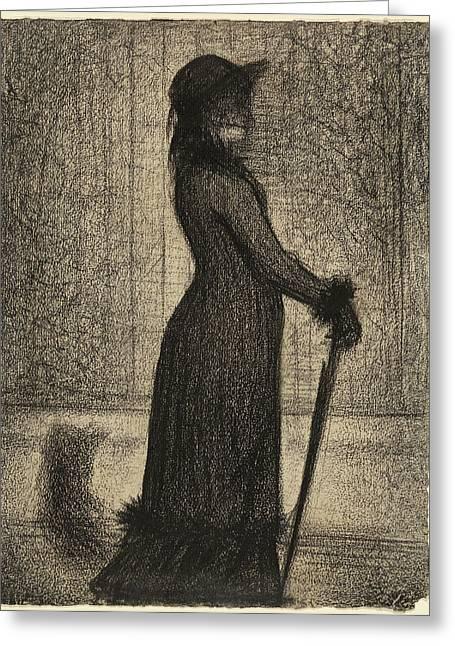 Une élégante Woman Strolling Georges Seurat Greeting Card by Litz Collection