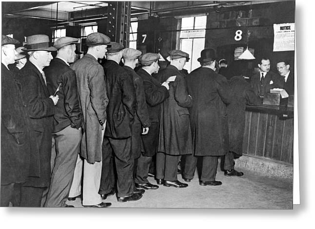 Unemployed Queue In London Greeting Card